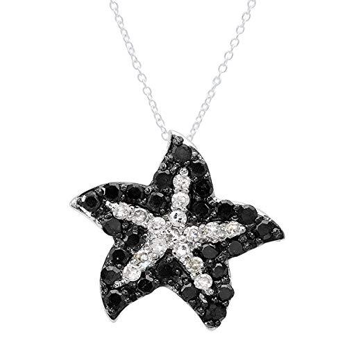 Dazzlingrock Collection 0.36 Carat (ctw) 10K Round Black & White Diamond Ladies Starfish Pendant 1/3 CT, White Gold