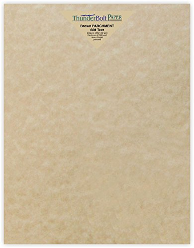 Parchment Bond Paper - 50 Light Brown Parchment 60# Text (=24# Bond) Paper Sheets - 8.5 X 11 Inches Standard Letter|Flyer Size - 60 Pound is Not Card Weight - Vintage Colored Old Parchment Semblance