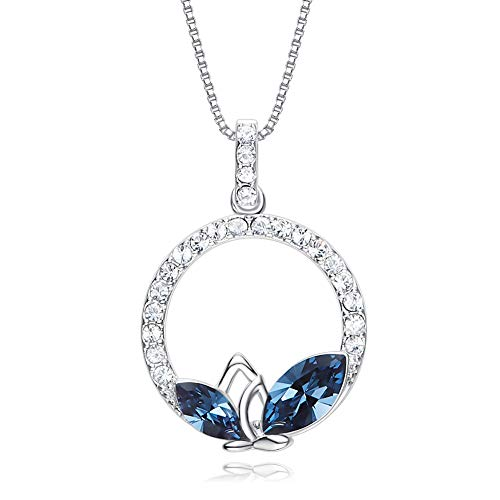 - RHHY-FIROD 925 Sterling Silver Leaf Ladies Necklace, Hand-Set with Blue Zircon, Tail Extension Chain Design Adjustable Length