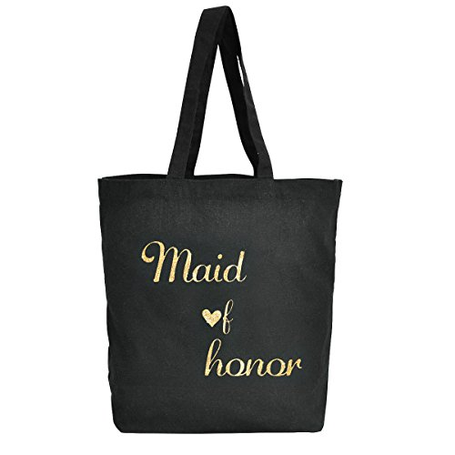 Lona Boda Of Escritura Maid Regalo Paquetes Bridesmaid Bolso Oro Del Algodón De Honor 100 La Favor 3 Negro Elegantpark Mano wU6pXxgq
