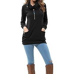 Levaca Womens Clothing Long Sleeve Tunic Casual Slim Shirts Tops Black XL