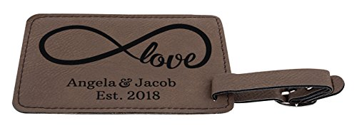Personalized Couples Gifts Custom Names & Date Infinite Love Personalized Engagement Gifts for Honeymoon 2-pack Laser Engraved Leather Luggage Tags Brown by Personalized Gifts (Image #3)
