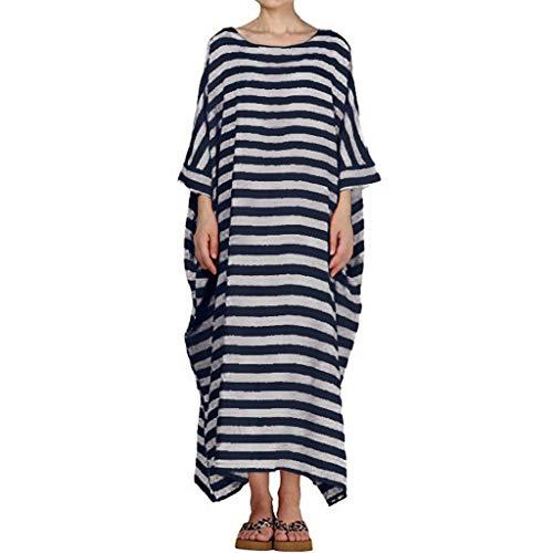 HYIRI Boho Women's Dresses Casual Striped 3/4 Sleeve O-Neck Casual Loose Kaftan Long Maxi Dress Navy from HYIRI