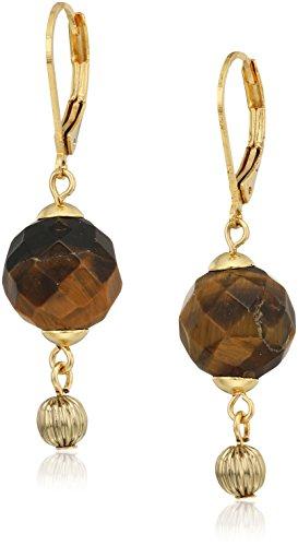 1928 jewelry 14k gold dipped genuine semi precious gemstone tiger's eye round drop earrings