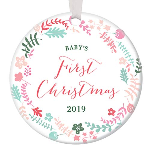 Baby Girl's First Christmas Ornament 2019 Pretty Pastel Floral Wreath Ceramic Family Keepsake for Mommy & Daddy's Newborn Infant Daughter 3