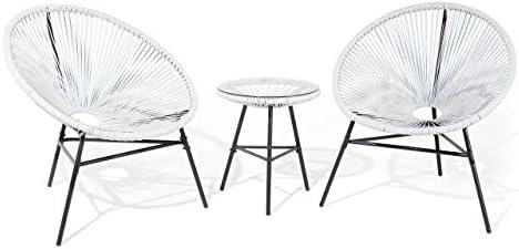 Mesa y 2 sillas de jardín, Color Blanco Acapulco: Beliani: Amazon ...