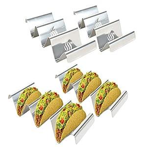 Onlyfire Supporto per Taco in Acciaio Inossidabile, 4 vassoi per Taco Solidi con Maniglie 2 spesavip