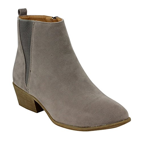 Women's Side Zipper Fashion V-shaped Chelsea Ankle Booties HALF SIZE SMALLER, Color:Grey, Size:10 - Chelsea Keeper Jersey
