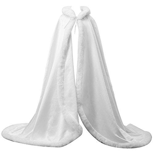 Wedding Cape Bridal Cloak Long Faux Fur Cloak with Hood Outerwear Cloak (145cm, White) by Portsvy