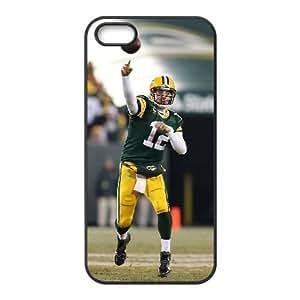 Aaron Rodgers iPhone 5 5S caso de la cubierta Negro Funda caja del teléfono celular Funda Cubierta EDGCBCKCO02875