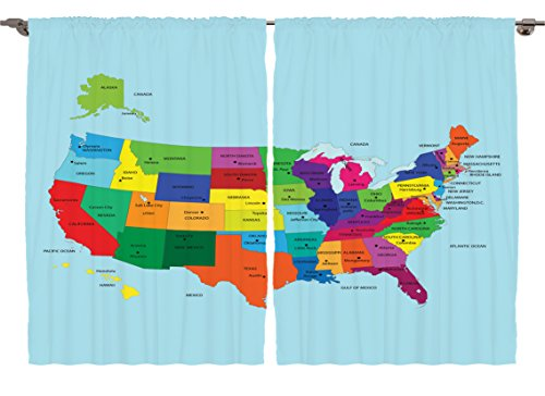 Ambesonne Girls Boys Kids Room Decor Collection, Educational Map of America USA with States and Capitals City California Art, Window Treatments for Kids Bedroom Curtain 2 Panels Set, 108X63 Inches
