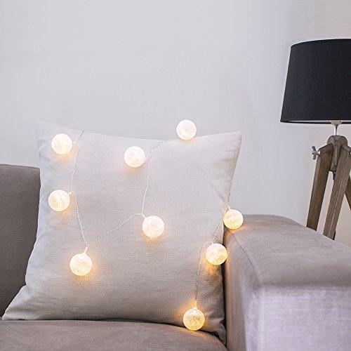 10er LED Lichterkette Ball weiß Cotton Ball Lichterkette Batterie Innen