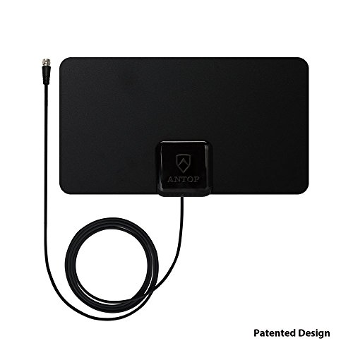 ANTOP AT-108 Paper Thin Indoor HDTV Antenna- 30 Mile Range - Multi-Directional Reception Pattern – Compatible with High Definition Televisions/4K UHD TVs - Black - 10ft Coaxial Cable by ANTOP