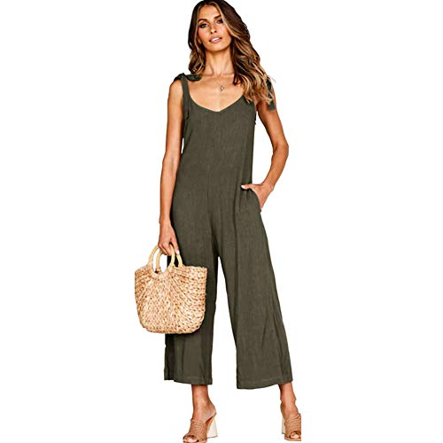 ALAIX Women's Cotton Casual Loose V Neck Sleeveless Bow Tie Shoulder Wide Leg Jumpsuits Rompers with Pocket Dark Grey-S