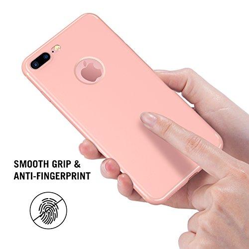 iPhone 7 Plus Hülle [ +1 Stück Panzelglas], RANVOO Silikon Dünn Anti-Fingerabdruck Ultra Slim Soft TPU Case for iPhone 7 Plus Rosa, [TENDER005]