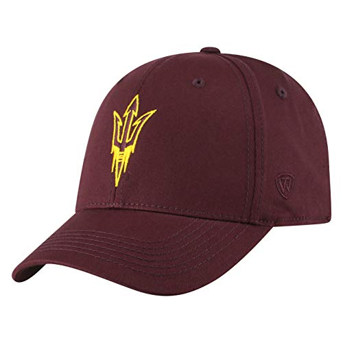 (NCAA Arizona State Sun Devils Men's Fitted Relaxed Fit Team Icon Hat, Dark Maroon)