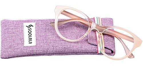 SOOLALA Lovely Hit Color Oversized Clear Lens Eye Glasses Frame Wide Reading Glasses, Pink, +2.0D