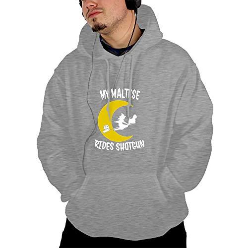 Mens Cotton Premium Lightweight Magical Maltese Dog Hooded Sweatshirt