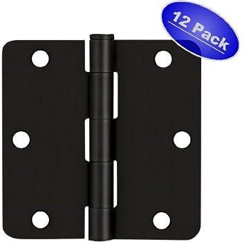 "Cosmas Flat Black Door Hinge 3.5"" Inch x 3.5"" Inch with 1/4"" Inch Radius Corners - 12 Pack"