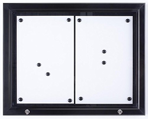 (Weather Resistant, Magnetic Surface, Bulletin Board With Swing-Open Locking Door, Wall Mounted, Matte Black Finish Aluminum Frame, For Indoor Or Outdoor Use)
