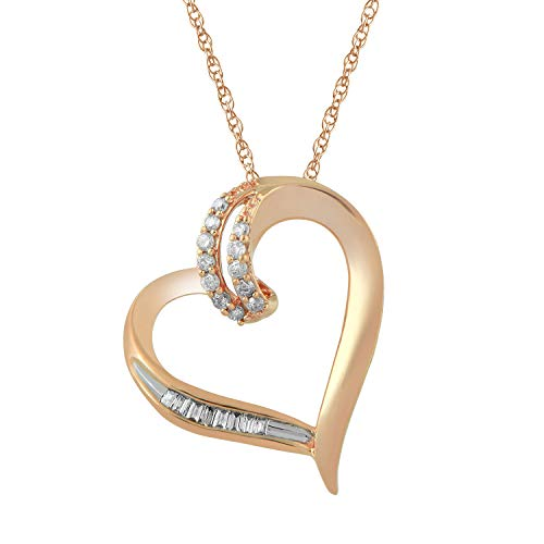 Jewelili 10kt Rose Gold 1/10cttw Baguette and Round Diamond Heart Pendant Necklace, 18