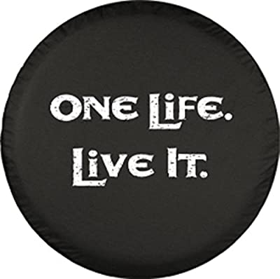"""32"""" One Life Live It - Spare Tire Cover - (Black Denim Vinyl) - White Print - Made in the USA"""