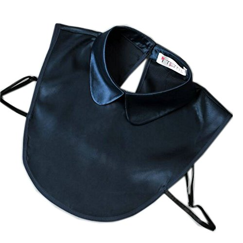- Joyci Women's Fake Collar Solid Color Imitate Satin False Collar Half Blouse Dickie (Dark Blue)