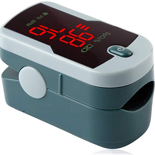 - ChoiceMMed Grey Finger Pulse Oximeter - Blood Oxygen Saturation Monitor Great as SPO2 Pulse Oximeter - Portable Oxygen Sensor with Included Batteries - O2 Saturation Monitor