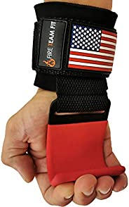 Fire Team Fit Lifting Hook for Weightlifting & Body Building - Padded Wrist Wraps & Hook Grips for Pul