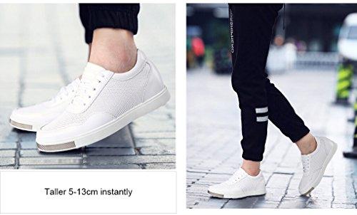 CHAMARIPA zapatos Ascensor para hombre de malla transpirable zapatos de cuero de las zapatillas de deporte del patín, Negro / Blanco -6cm Taller - H71C26K175D Blanco