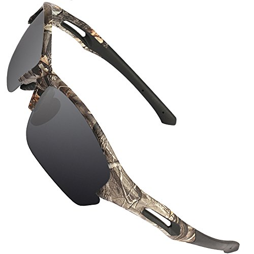 MOTELAN Men Camouflage Polarized Sunglasses for Fishing Hunting Cycling Driving Running Golf Baseball Wrap Around Sport Frame Lightweight Glasses Grey