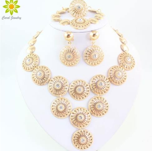 [New Charms Clear Crystal Rhinestone Gold/Silver Plated Indian Wedding Bridal Jewelry Set Vintage Costume Women Jewelry Sets{gold}] (Indian Costumes Jewellery)