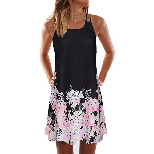 XVSSAA Female Printed Sleeveless Dress, Vintage Boho Women Summer Off-Shoulder Beach Short Mini A-Line Dress Black