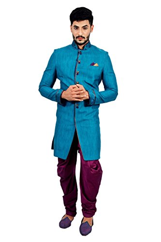 Gulfstream Blue Indian Wedding Indo-Western Sherwani for Men by Saris and Things