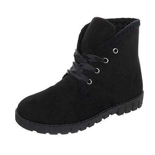 Zapatos para mujer Botas Plano Botines de cordones Ital-Design Negro