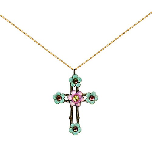 Orly Zeelon Brass, Pink and Green Crystals Floral Cross Necklace