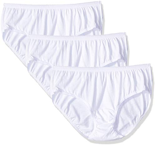 Shadowline Women's Plus-Size Cotton Hipster Panty 3-Pack, White, 11