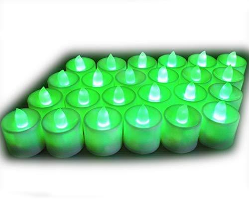 24Pcs Electric LED Tealight Bright Mood Candle Realistic Battery Operated Tealight for Wedding Party Confession Festival Decoration Fake Candle (Green) ()