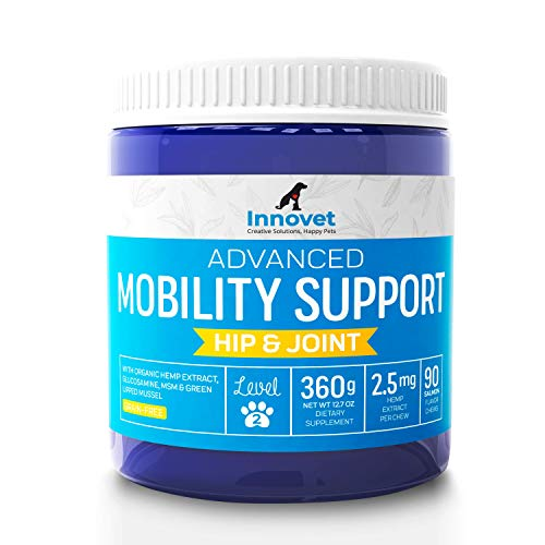 INNOVETPET Advanced Mobility Chews For Dogs - (90 Chews) Dog Treats, Hip & Joint Supplement With MSM, Green Lipped Mussel, Vitamin C & E, Glucosamine for Dogs, Organic Terpene Extract Boosts Immunity ()
