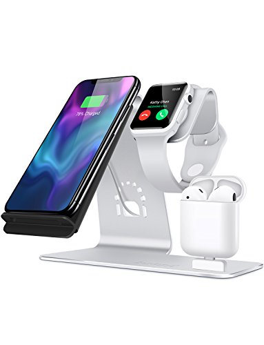 Station Charger Stand - Bestand 3 in 1 Aluminum Stand for Apple iWatch,Charging Station for Airpods, Qi Fast Wireless Charger Dock for iPhone X/8/7/6s Plus Samsung S8 and Other Qi-Enabled Devices, Silver