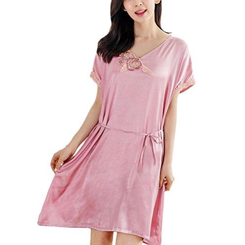 Zhuhaitf Women's Quality Premium Satin Flower Printing Chemise with Belt Pink