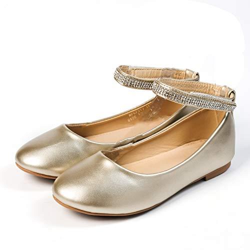 Nova Utopia Toddler Little Girls Dress Ballet Ankle Strap Flat Shoes,NF Utopia Girl NFGF317 Gold 9 -
