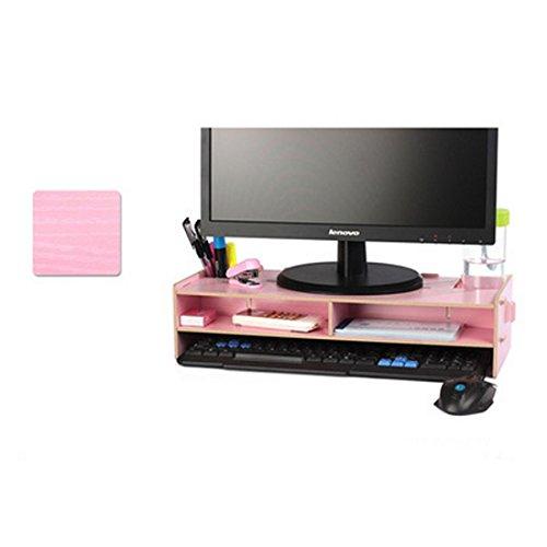 FlashEagle Desktop Monitor Stand Pink Wooden Desktop Monitor Riser and Keyboard Stand Organizer for TV Laptop Desktop Computer