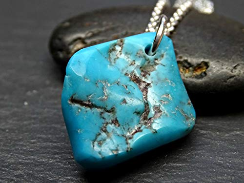 t silver, Arizona turquoise necklace, blue turquoise nugget pendant, southwestern necklace, turquoise womens necklace ()