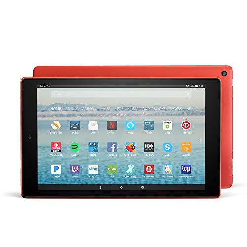 Certified Refurbished Fire HD 10 Tablet (32GB, Punch Red, with Special Offers) + Show Mode Charging Dock (Previous Generation - 7th)