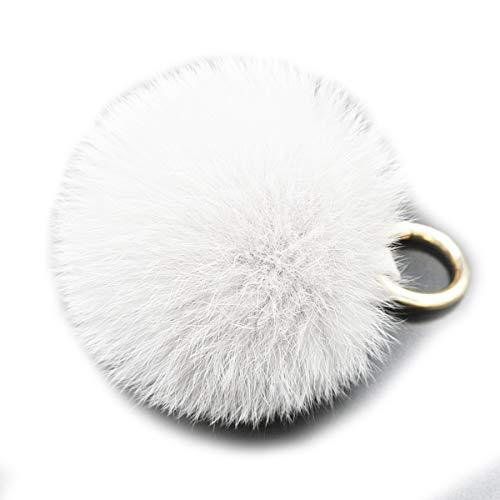 Rhinestone Rabbit Pendant - Rabbit Fur Ball Pom Pom Keychain Puff Ball Keyring Cityelf Fluffy Accessories Car Bag Charm (WHITE LARGE)