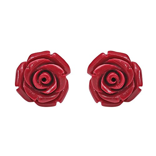 (Pretty Blooming Carved Red Rose .925 Sterling Silver Stud Earrings)