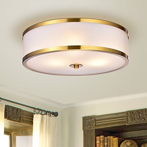 Gold 3 Light Flush (Jojospring Blanca Metallic Gold with Glass Drum Shade 3-light Flush-mount Fixture)