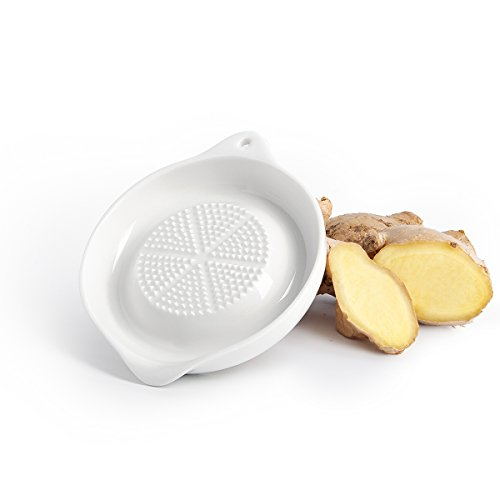 Grater Plate - Sweese 3602 Porcelain Grater Plate - for Ginger, Garlic and Onion, 4 inches & White