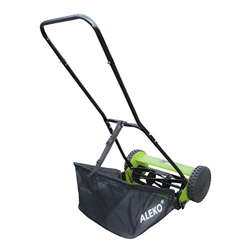 ALEKO GHPM16 5-Blade 16 Inch Hand Push Lawn Mower Adjustable Grass Cutting Height